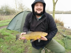 Charlie Thornton with an unseasonal tench 13/02/16.
